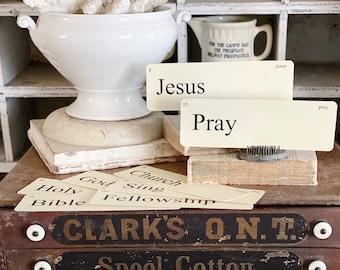 CHURCH Flash Cards LARGE Vintage Inspired Flashcard SET Of 8 Farmhouse Decor Inspirational Religious Church Spiritual Jesus Song Banner