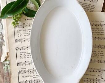 Vintage White Ironstone Bowl Side Dish French Farmhouse Decor Au gratin Plate Soap Dish FRENCH