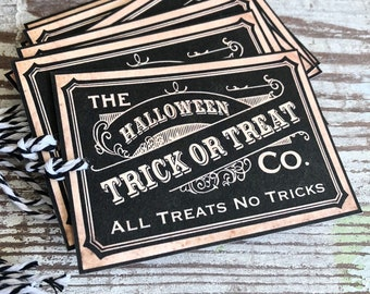 Halloween Gift Tags TRICK OR TREAT Vintage Black Farmhouse Decor Grungy Party Favor Vintage Halloween Card Tag