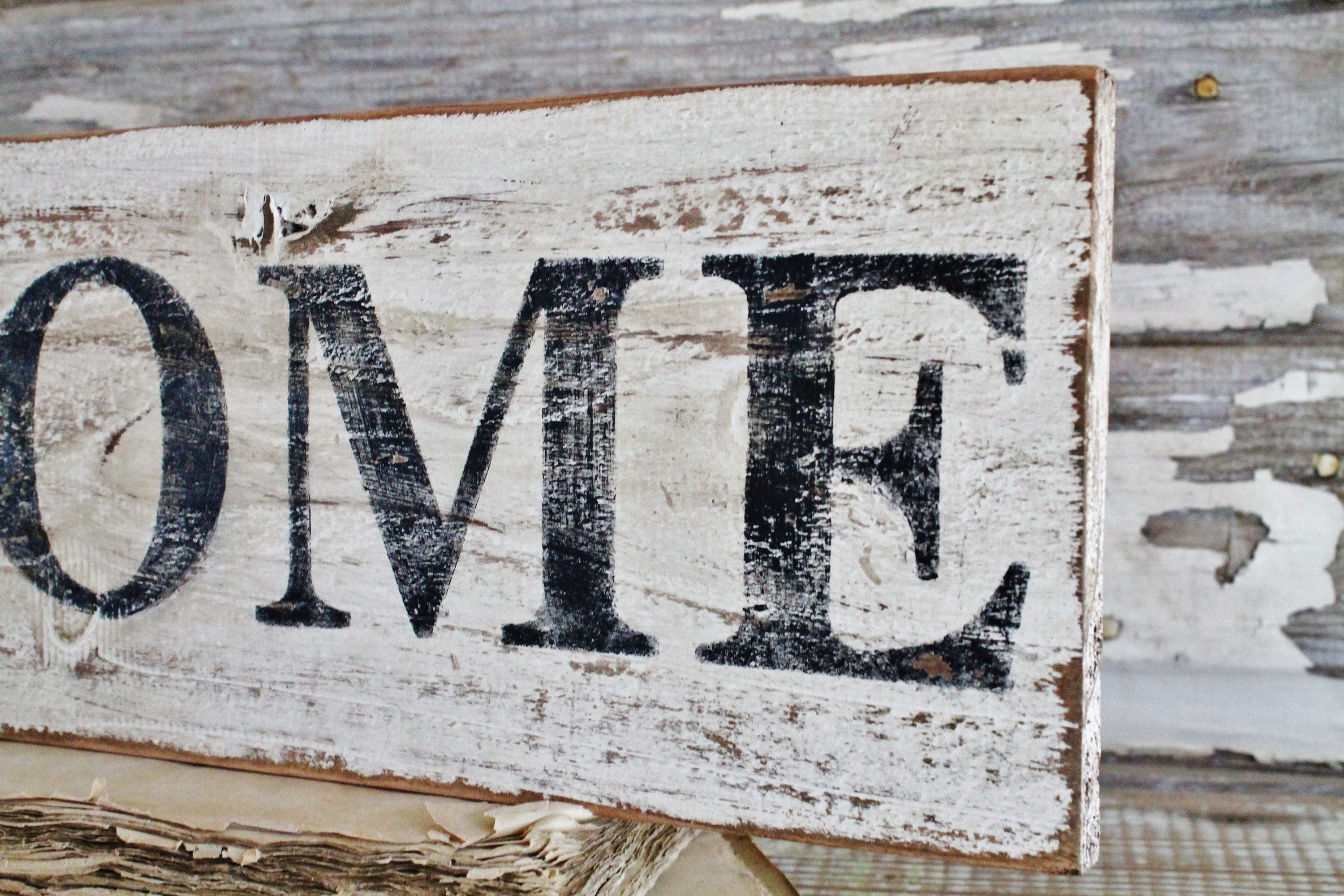 Home Farmhouse Sign Painted Salvage Barn Wood Reclaimed