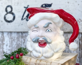 Vintage Ironstone Santa Claus Cup PITCHER Creamy White Santa Face Farmhouse Christmas Decor JAPAN