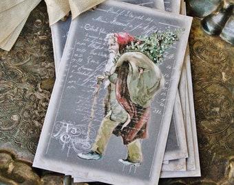Christmas Gift Tags Vintage SANTA with Sack Tree Farmhouse Decor Chalkboard Card French Shabby Gift Wrap Primitive Christmas