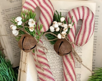 Vintage Ticking Grain Sack Red CANDY CANE with Tallow Berries Rustic Bell Farmhouse Christmas Decor Bowl Filler Stocking Stuffer GRUNGY