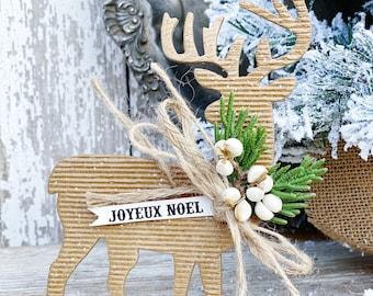 REINDEER Christmas Ornament JOYEUX NOEL Banner Farmhouse Vintage Christmas Decor Deer Tallow Berries Cedar Glitter