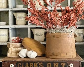 Antique Wood Bucket Firkin Sugar Barrel Stave with Handle and Lid Primitive Farmhouse Decor