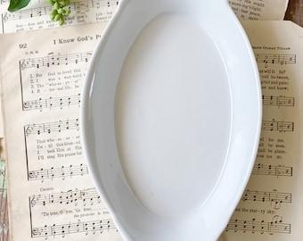 Vintage White Ironstone Bowl Side Dish French Farmhouse Decor Au gratin Plate Soap Dish