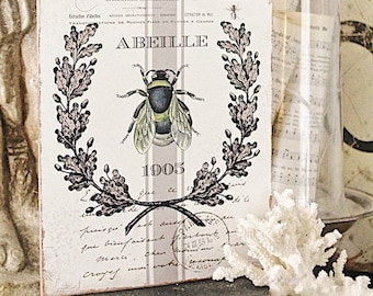 Vintage FRENCH BEE  Wood Sign Mounted Print Farmhouse Decor Sign Page Wall Art Queen Abeille