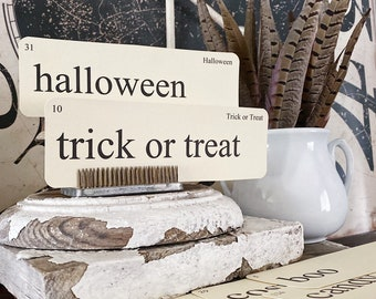 HALLOWEEN Flash Cards LARGE Vintage Inspired Flashcard SET Of 8 Farmhouse Decor Boo Spooky Candy Costume Trick or Treat