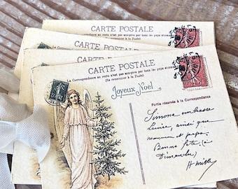 ANGEL Christmas Gift Tags Vintage POST CARD Farmhouse Decor Card French Shabby Gift Wrap Christmas Tree Ornament