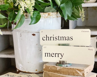 CHRISTMAS Flash Cards LARGE Vintage Inspired Flashcard SET Of 8 Farmhouse Decor Holiday Joy Noel Merry Believe Primitive Christmas