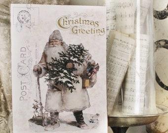 Vintage SANTA Christmas  Wood Sign Farmhouse Christmas Decor Post Card Christmas Book Page Wall Art Print