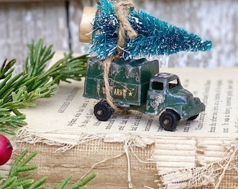 Christmas TRUCK With Flocked GREEN Bottle Brush Tree Vintage Toy Farmhouse Christmas ARMY