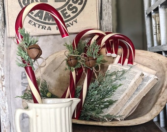 Vintage GIANT Red CANDY CANE with Rusty Jingle  Bell Rustic Farmhouse Christmas Decor