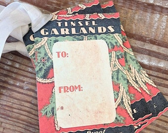 Christmas Gift Tags Vintage TINSEL GARLAND Tag  Farmhouse Decor Gift Wrap Tree Ornament Label