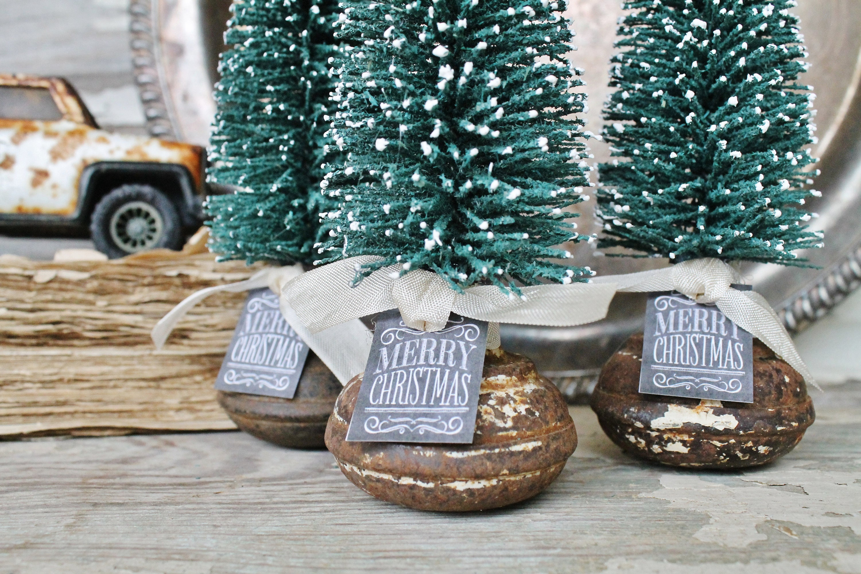 Car Christmas Tree Topper.Christmas Tree Door Knob Vintage Christmas Bottle Brush Tree
