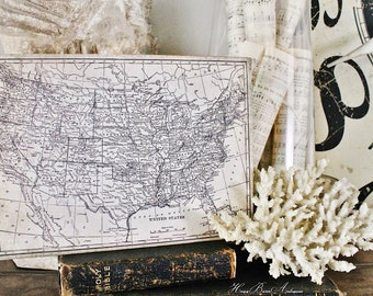 Vintage UNITED STATES MAP Poster Wood Sign Mounted Print Farmhouse Book School Page Wall Art Print Primitive Homeschool Patriotic Americana