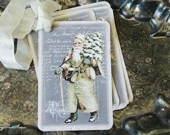 Christmas Vintage Gift Tags SANTA Chalk Tree Farmhouse Decor Card French Shabby Gift Wrap