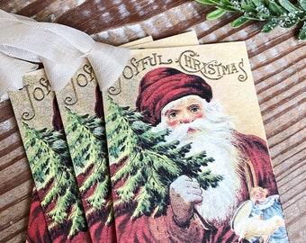 Christmas Gift Tags Vintage SANTA CLAUS Joyful Christmas Card Farmhouse Christmas Decor French Shabby Chic Gift Wrap Primitive