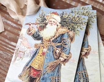 Christmas Vintage Gift Tags SANTA CLAUS St Nick with Tree Farmhouse Christmas Decor Card French Shabby Gift Wrap Primitive Christmas