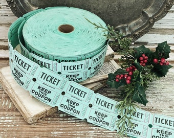 Vintage GREEN and RED Raffle Ticket Fair Carnival CHRISTMAS Decor Farmhouse Decor Ephemera Scrapbook Gift Tag Paper Supplies