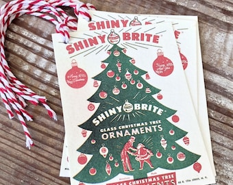 Christmas Gift Tags Vintage SHINY BRITE Red Green Farmhouse Decor Gift Wrap Tree Ornament Label