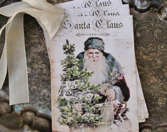 Christmas Gift Tags Vintage SANTA CLAUS with Tree Farmhouse Decor Christmas Card French Shabby Gift Wrap Primitive