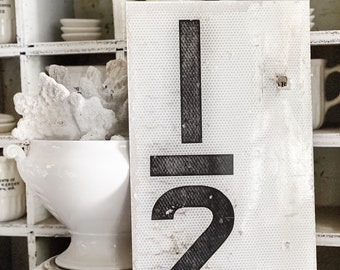 Authentic Vintage Metal Number SIGN White Black Farmhouse Antique Industrial Salvage Decor