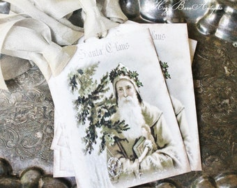 SANTA Christmas Gift Tags Vintage SANTA CLAUS with Pine Tree Farmhouse Christmas Decor Card French Shabby Gift Wrap Primitive Christmas