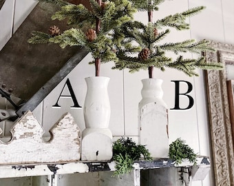 CHRISTMAS PINE TREE Vintage Architectural Salvaged Wood Base In Chippy White Farmhouse Christmas Decor With Woodland Natural Pine Cones