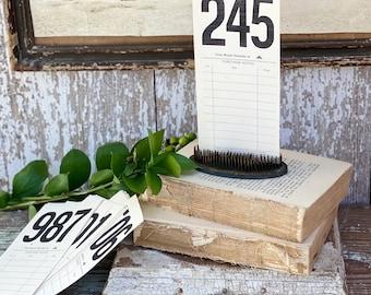 Vintage AUCTION NUMBER Bid Card Ephemera Farmhouse Decor Cardstock Black Number Board Sign #200-299