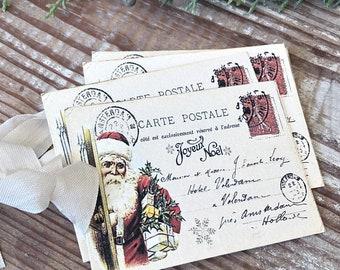 SANTA Christmas Gift Tags Vintage POST CARD Farmhouse Decor Card French Shabby Gift Wrap Christmas Tree Ornament