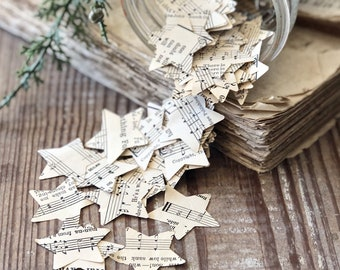 Vintage Sheet Music Paper STAR Confetti Book Page CHRISTMAS 200 Stars Wish Holiday Birthday Farmhouse Decor Gift Wrapping Package Filler