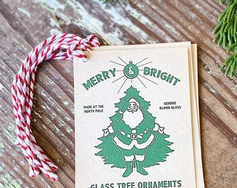 Christmas Gift Tags Vintage SANTA Ornament Merry Bright Green Red Farmhouse Decor Gift Wrap