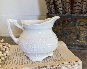 Antique White Ironstone Creamer Pitcher Farmhouse Decor USA