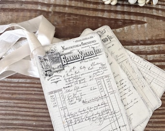 French Receipt Gift Tags Vintage SALON Ledger Gift Tags Card French Writing Typography Shabby Farmhouse Decor