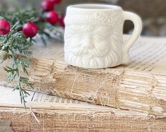 Vintage Ironstone Santa Claus Cup Mini Mug Santa WHITE Farmhouse Christmas Decor