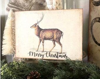 MERRY CHRISTMAS DEER Sign Vintage Christmas Decor Deer Fawn Stag Buck Reindeer Wood Sign Farmhouse Christmas Decor Book Page Art Primitive