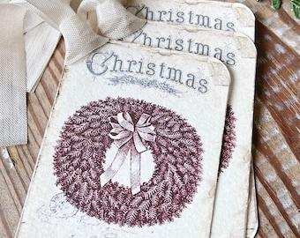 Christmas Vintage Gift Tags JOYEUX NOEL WREATH Farmhouse Christmas Decor Card French Shabby Gift Wrap