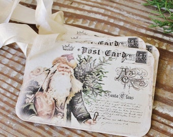 SANTA Christmas Gift Tags Vintage POST CARD Tree Farmhouse Decor Card French Shabby Gift Wrap Father Christmas Cowboy