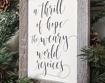 Vintage Christmas Frame THRILL OF HOPE Framed Sign Farmhouse Christmas Decor Barn Wood Rustic Christmas Sign Oh Holy Night