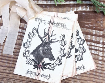 Christmas Gift Tags Vintage Deer MERRY CHRISTMAS Joyeux NOEL Laurel Wreath Pink Roses Farmhouse Decor Card  Gift Wrap Christmas Stag Buck