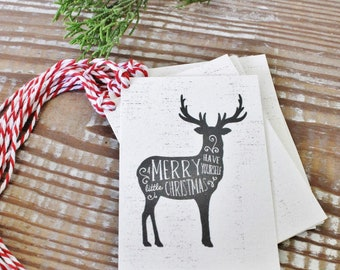 Christmas Gift Tags Chalk Vintage DEER Have Yourself A Merry Little Christmas Farmhouse Decor Gift Wrap Reindeer Silhouette Hand Lettered