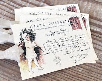 CHERUB Christmas Gift Tags Vintage POST CARD Farmhouse Decor Card French Shabby Gift Wrap Christmas Tree Ornament Primitive Christmas