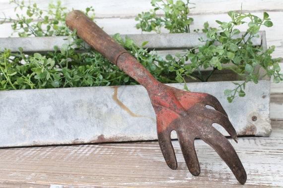 Vintage jardin à la main outil BINEUSE fourche métal rouge | Etsy