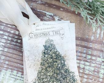 Christmas Vintage Gift Tags CHRISTMAS TREE GREEN Farmhouse Christmas Decor Card French Shabby Gift Wrap