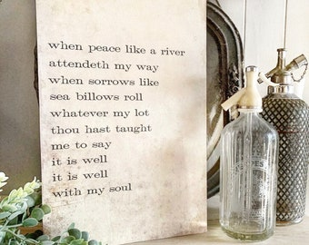 IT IS WELL With My Soul Hymn Sign Wood Vintage Farmhouse Decor Mounted Book Page Decor Hymnal Bible Verse Scripture