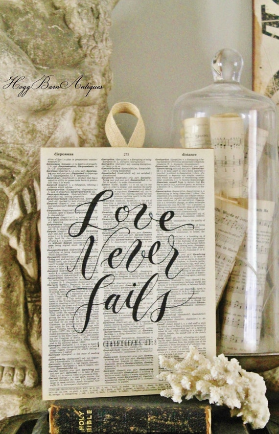 Love Never Fails Wood Sign Vintage Dictionary Art Print