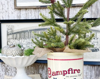 Vintage CAMPFIRE MARSHMALLOWS Tin Can Red White Blue Farmhouse Decor Industrial Salvage Christmas Decor 16 oz