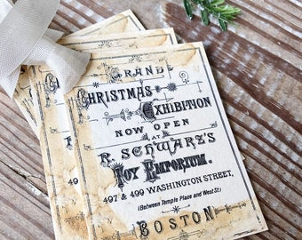 Christmas Vintage Gift Tags CHRISTMAS EXHIBITION  Toy Sheet Music Book Farmhouse Christmas Decor Card French Shabby Gift Wrap Aged