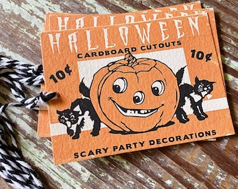 HALLOWEEN Retro Gift Tags Vintage Orange Pumpkin Farmhouse Decor Grungy Party Favor Vintage Halloween Card Tag Black Cat